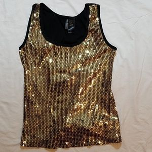 Gold Sequin Sleeveless Tank Top Blouse